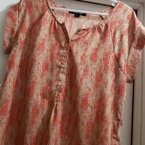 Forever 21 Orange and Cream Polyester Blouse
